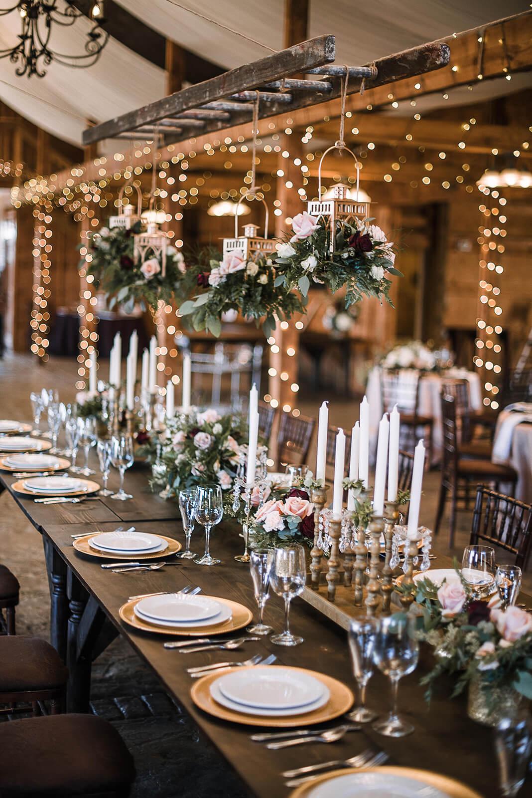 Farm Table & Hanging Lanterns