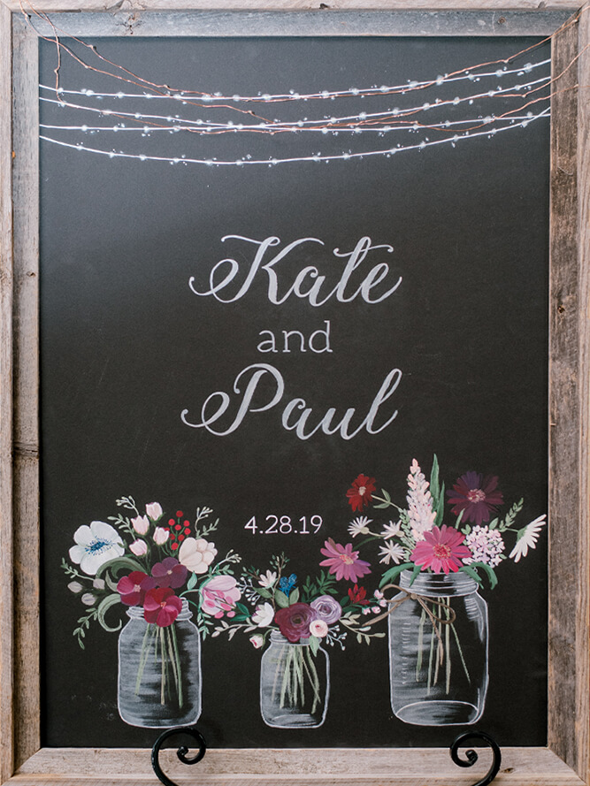 Event Studio Hand Painted Sign - K+P